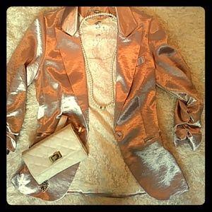 Shiny rose pink blazer